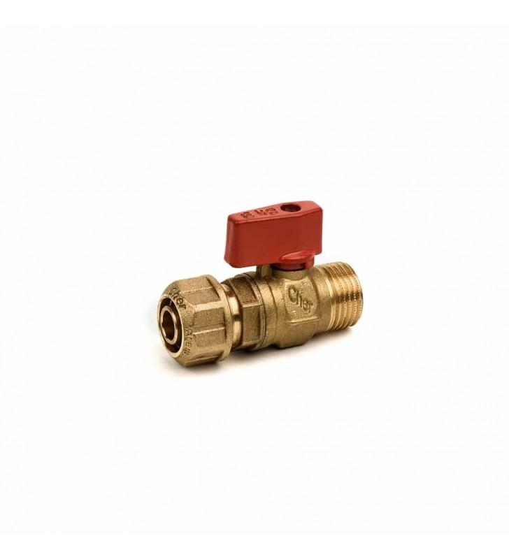 Διακοπτάκι Mini με Ρακόρ (Φ15/ Φ16/ Φ18x2,5) Κόκκινο CHERBROSS
