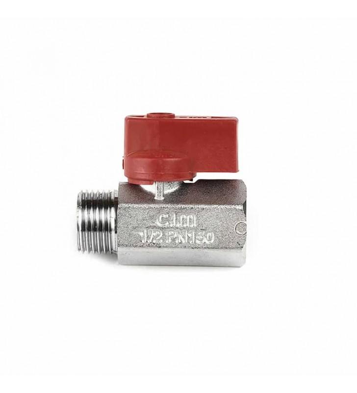 Διακοπτάκι Mini Σφαιρικό 1/2'' Κόκκινο Β.Τ. CIM